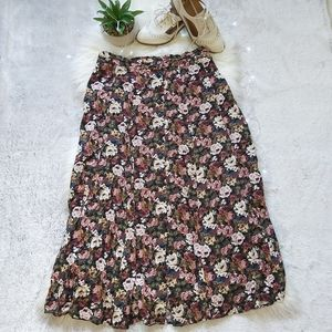 Vintage EXPRESS Floral Button Down Flowy Skirt
